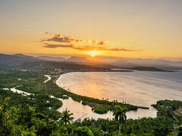 CUB2197AW View over Bahia de Miel towards city and El Yunque Mountain at sunset, Baracoa, Guantanamo Province, Cuba