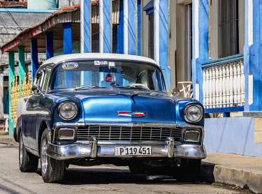 CUB2208AW Vintage car on the street of Baracoa, Guantanamo Province, Cuba