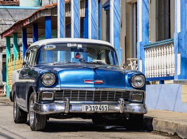 CUB2208AW Vintage car on the street of Baracoa, Guantanamo Province, Cuba