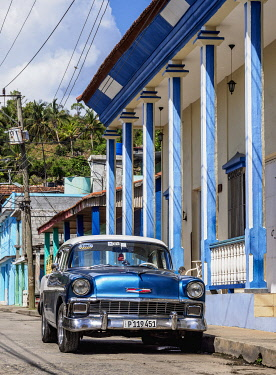 CUB2209AW Vintage car on the street of Baracoa, Guantanamo Province, Cuba