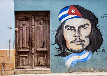 CUB2269AW Che Guevara Mural Painting, Centro Habana, Havana, La Habana Province, Cuba