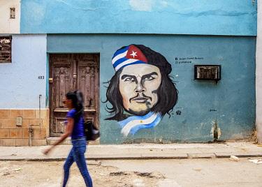 CUB2270AW Che Guevara Mural Painting, Centro Habana, Havana, La Habana Province, Cuba