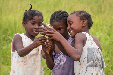 SAO1165AW Africa, S�A?o Tomè and Principe. Girls admiring a picture of themselves in a mobile phone.