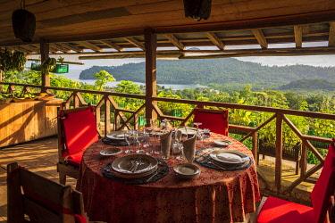 SAO1205AW Africa, S�A?o Tomè and Principe. Table setting at Roca Sao Joao dos Angolares.