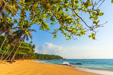 SAO1211AW Africa, S�A?o Tomè and Principe. Beautiful sandy beach Praia Jalè in the South of Sao Tomè Island.