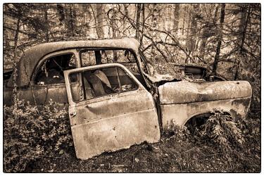 SW03270 Sweden, Smaland, Ryd, Kyrko Mosse Car Cemetery, former junkyard now pubic park, junked cars