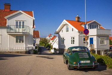 SW03364 Sweden, Bohuslan, Kungshamn, Fisketangen, old fisherman's neighborhood, antique Porsche 356 sportscar