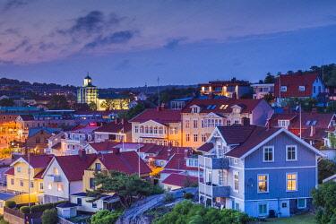 SW03386 Sweden, Bohuslan, Stromstad, high angle town view, dusk
