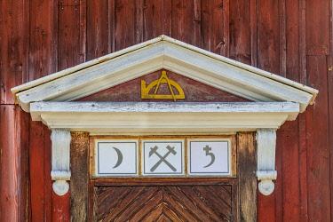 SW03422 Sweden, Vastmanland, Sala, Sala Silvergruva silver mine, mine buildings with mining symbols, detail