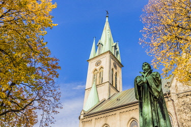 POL2441AW The baroque Lutheran Church and statue of Martin Luther in Bielsko Biala, Silesian Voivodeship, Poland