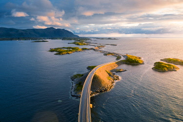 NOR1089AW Aerial view of the Atlantic Ocean Road at sunset, More og Romsdal, Norway