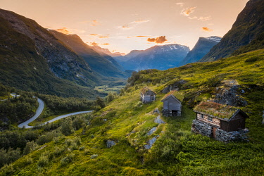 NOR1103AW More og Romsdal, Norway. Turf roof houses near Geirangerfjord.