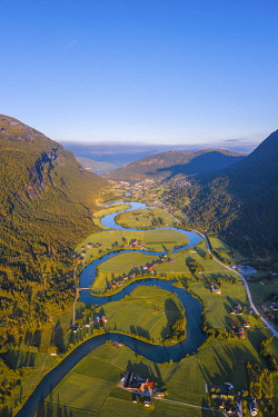 NOR1105AW Stryn, Sogn og Fjordane, Norway. Aerial view of the winding river.
