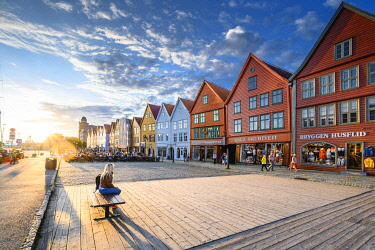 NOR1116AW Bergen, Hordaland, Norway. Wooden houses of Bryggen, UNESCO site, former counter of the Hanseatic League.