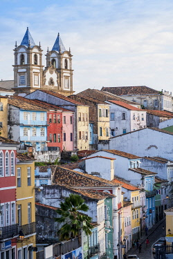 BRA3784AW Americas, South America, Brazil, Bahia, Salvador, view into the Pelourinho and the historic, World Heritage listed colonial centre showing the Church of the Our Lady of the Rosary