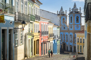 BRA3788AW Americas, South America, Brazil, Bahia, Salvador, view into the Pelourinho and the historic, World Heritage listed colonial centre showing the Church of the Our Lady of the Rosary
