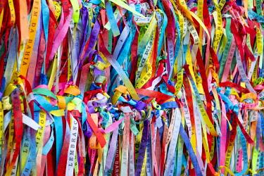 BRA3812AW Americas, South America, Brazil, Bahia, Salvador, Mardi Gras carnival in Salvador, fitas - or ceremonial ribbons celebrating the Feast of Bonfim