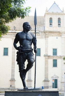 BRA3813AW Americas, South America, Brazil, Bahia, Salvador, statue of the African-Brazilian king Zumbi of Palmares - an escaped slave