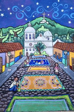 ELS0038AW Americas, Central America, El Salvador, Concepcion de Ataco, one of the city�s famous murals