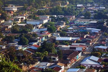 ELS0040AW Americas, Central America, El Salvador, Concepcion de Ataco, elevated view of the town centre