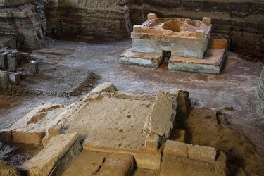 ELS0045AW Americas, Central America, El Salvador, La Libertad, Mayan ruins at the village of Joya de Ceren, buried by volcanic ash from the Loma Caldera volcano