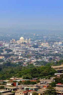 ELS0048AW Americas, Central America, El Salvador, San Salvador, elevated skyline view of the city of San Salvador