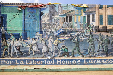 NIC0286AW Americas, Central America, Nicaragua, Leon, mural dedicated to the Sandinista revolution