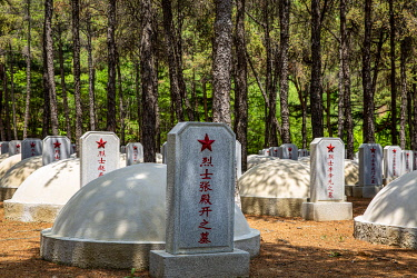 NKO0432 North Korea, Hoechang Province. Graves of fallen Chinese soldiers killed in the Korean War, within the Chinese People's Volunteers Cemetery, where Mao Anying, son of Mao Zedong, is also laid to rest.