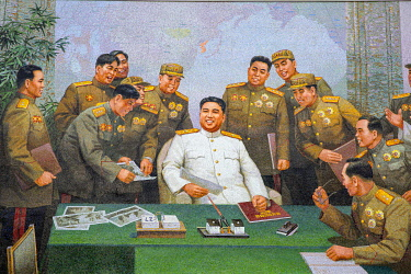 NKO0435 North Korea, Pyongyang. A mural depicting Kim Il Sung surrounded by senior military figures at the Oun Revolutionary Site.