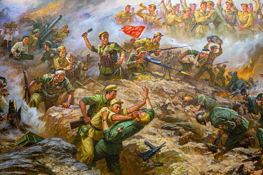 NKO0440 North Korea, Pyongyang. Paintings within the Sino-Korean Friendship Tower of American soldiers being defeated by North Korean and Chinese armies in the Korean War.