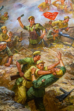 NKO0441 North Korea, Pyongyang. Paintings within the Sino-Korean Friendship Tower of American soldiers being defeated by North Korean and Chinese armies in the Korean War.