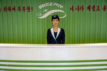 NKO0448 North Korea, Pyongyang. Reception desk at the Mirim Aviation Club.