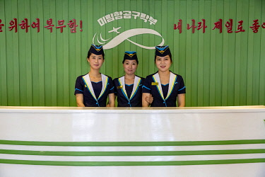 NKO0484 North Korea, Pyongyang. Reception desk at the Mirim Aviation Club.