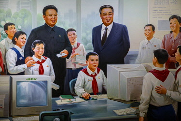 NKO0497 North Korea, Pyongyang. A painting at a school depicting Kim Jong Il and Kim Il Sung encouraging students with their computer studies.