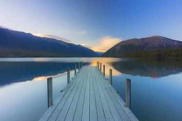 NZ9946AW A woden jetty in the Rotoiti lake, Nelson lakes, Abel Tasman, South Island, New Zealand
