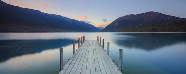 NZ9948AW A woden jetty in the Rotoiti lake, Nelson lakes, Abel Tasman, South Island, New Zealand