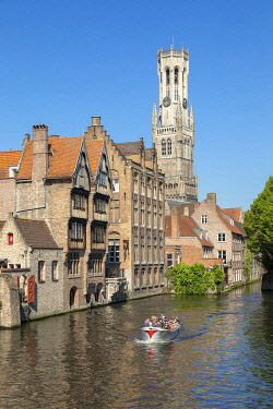 HMS3527764 Belgium, Western Flanders, Bruges, historical centre listed as World Heritage by UNESCO, quay of the Rosary and the Belfry