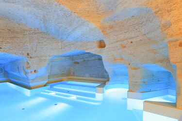 HMS3498331 Italy, Basilicata, Matera, European Capital of Culture 2019, troglodyte old town listed as World Heritage by UNESCO, Sasso Caveoso, Aquatio hotel (Cave Luxury Hotel & Spa) designed by architect Simone...