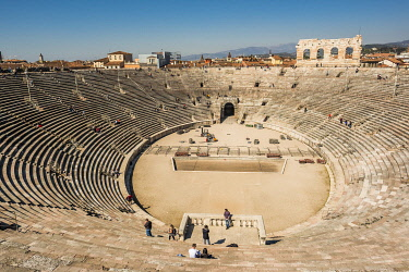 HMS3601493 Italy, Veneto, Verona, listed as World Heritage by UNESCO, the Arena of Verona on Bra Square, ancient Roman amphitheater built in 30 after J-C