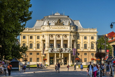 HMS3651798 Slovakia, Bratislava, historic center, Hviezdoslav Square, neo-renaissance opera built by architects Fellner and Helmer in 1885 and hosting the Slovak National Theater