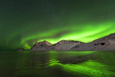 HMS3652447 Norway, Nordland County, Lofoten Islands, Hauckland Beach, Northern Lights