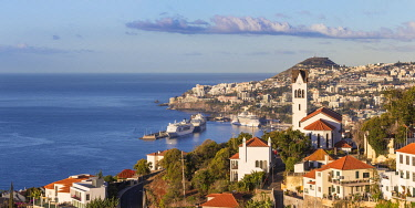 PT111RF Portugal, Madeira, Funchal, View of Sao Goncalo Church overlooking Funchal harbour and town