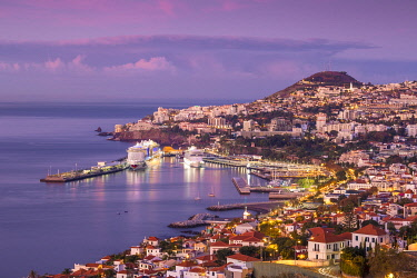 PT133RF Portugal, Madeira, Funchal, View of Funchal  harbour and town