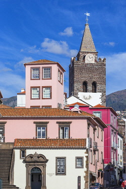 PT134RF Portugal, Madeira, Funchal, View towards Funchal Cathedral, - The Cathedral of Our Lady of the Assumption