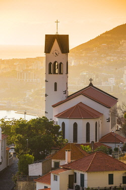 PT04063 Portugal, Madeira, Funchal, View of Sao Goncalo Church overlooking Funchal harbour and town