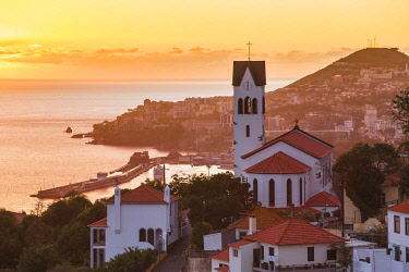 PT04086 Portugal, Madeira, Funchal, View of Sao Goncalo Church overlooking Funchal harbour and town
