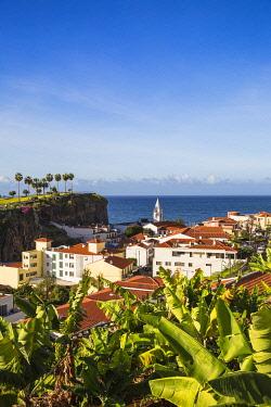 PT04119 Portugal, Madeira, Funchal, View of Camara de Lobos beneath Ilheu gardens