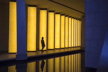 HMS3482558 France, Paris, Bois de Boulogne, the Louis Vuitton Foundation by architect Frank Gehry, the work Inside the horizon, 2014, by Olafur Eliasson