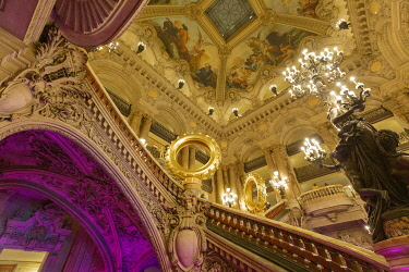 HMS3508622 France, Paris, Garnier opera house (1878) under the architect Charles Garnier in eclectic style, the Grand staircase