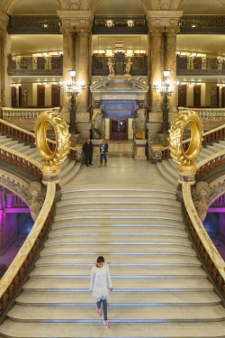 HMS3508636 France, Paris, Garnier opera house (1878) under the architect Charles Garnier in eclectic style, the Grand staircase